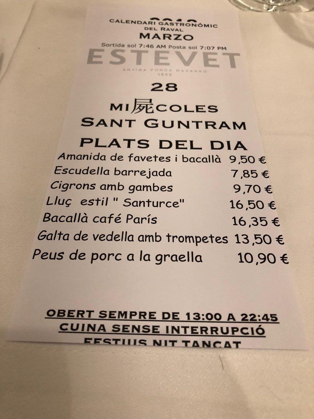 Ca L'Estevet daily specials