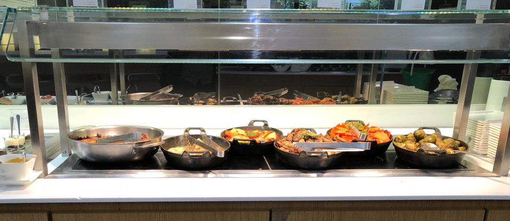 Lufthansa Senator lounge hot buffet.jpg