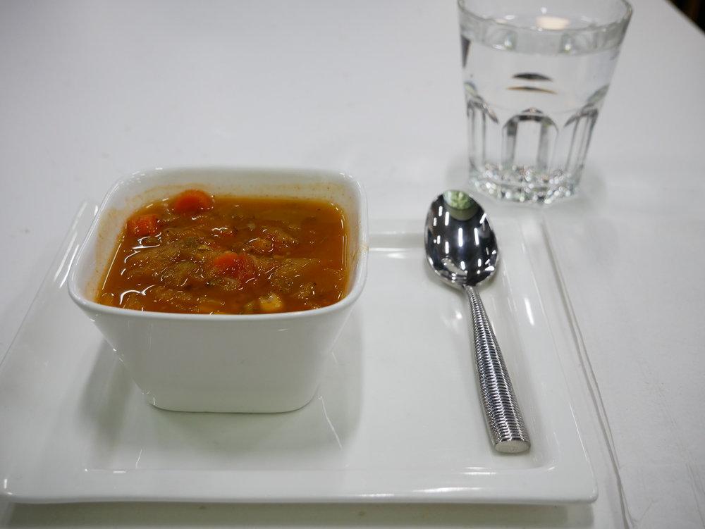 EWR Senator Lounge vegetable soup