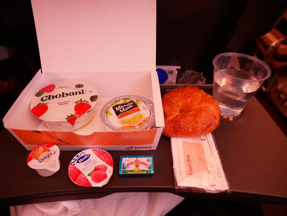SWISS Transatlantic economy pre-arrival breakfast
