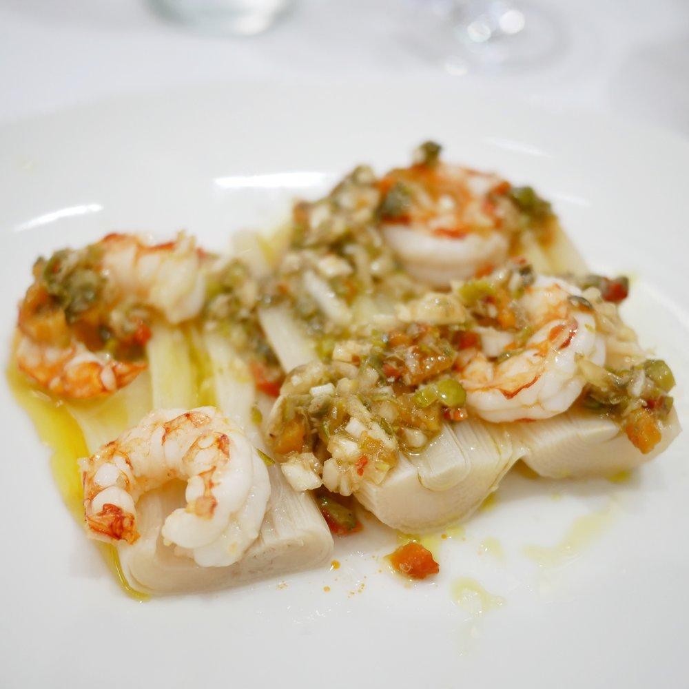 Ca L'Estevet salad of leeks and prawns