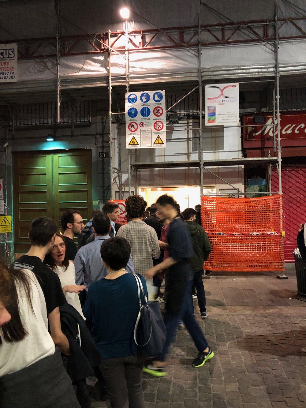 Milan Chinatown dumpling line