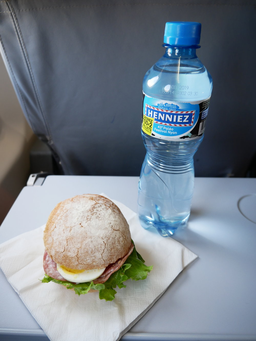 NZZ sandwich and water on board
