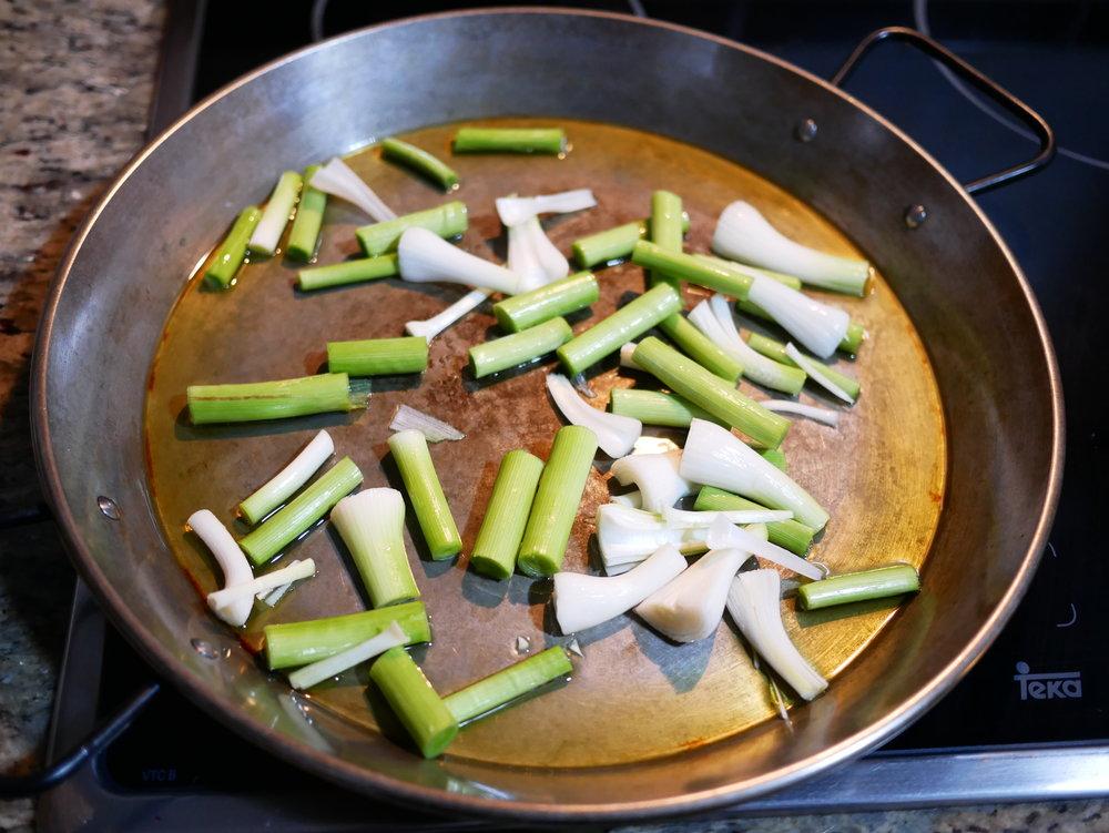 Spring paella green garlic