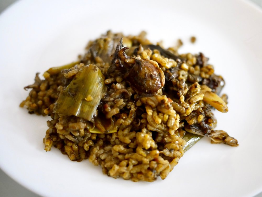 Spring paella on plate