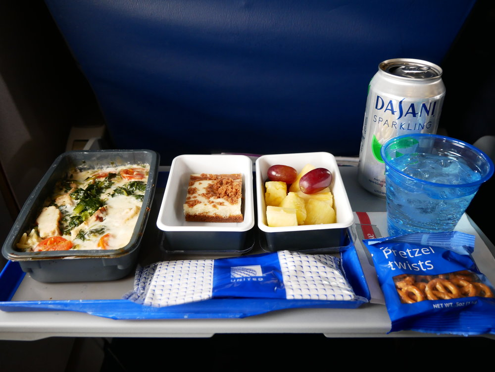 United premium transcontinental Economy tray
