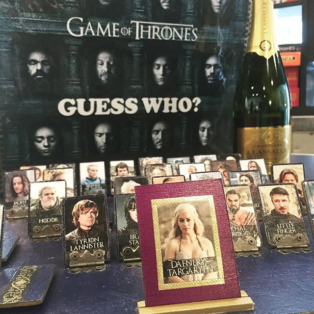 Can't wait much longer?? Brush up on your #GOT character knowledge with our custom hand made Game of thrones Guess who board game!  One of a kind made by the fabulous @nicolep1000 #nonoobs #gameofthrones #guesswho #boardgame #winebar #artmajor #daenerystargaryen