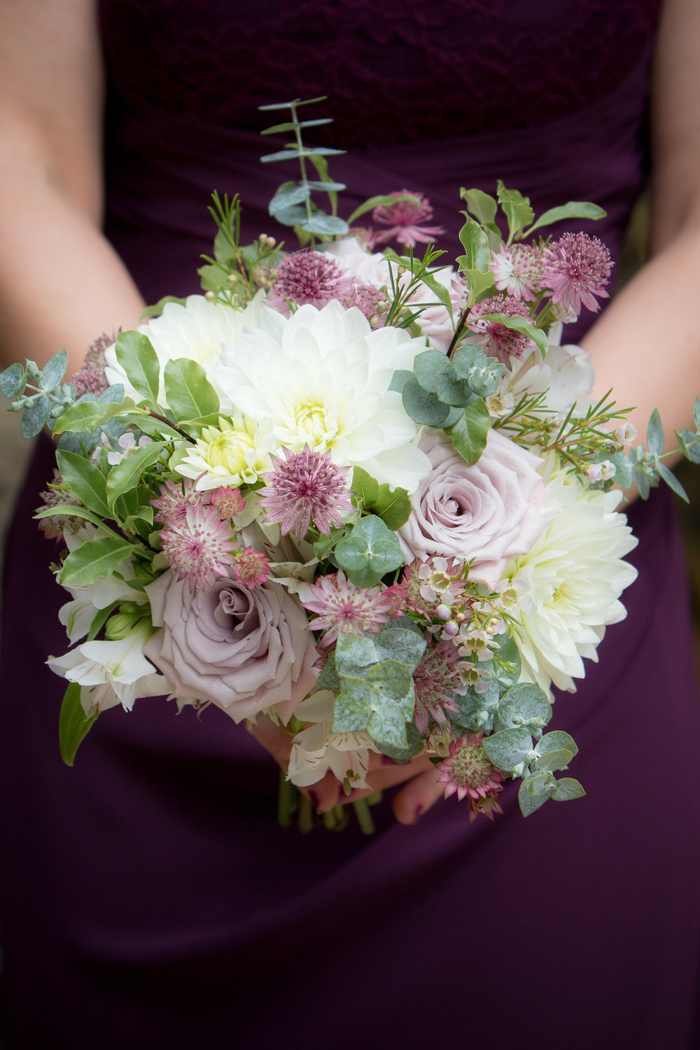 Blush and berry bridesmaid bouquet