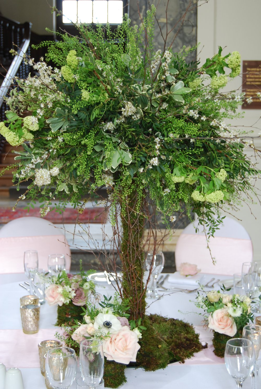 Textured mini trees for receptions tables