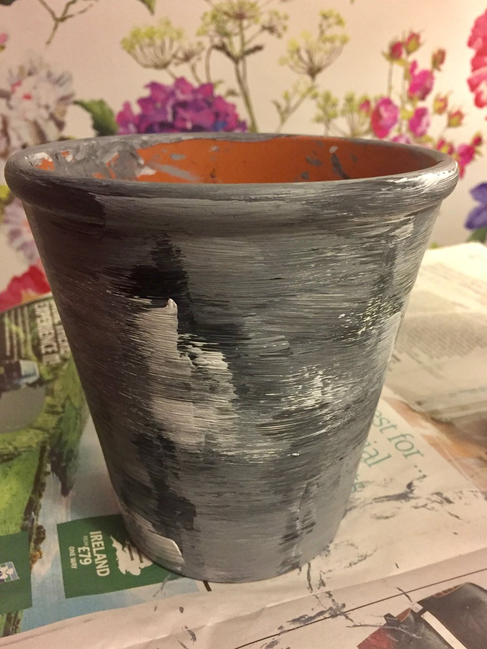 Painted up terracotta pot waiting for some silver leaf to be added