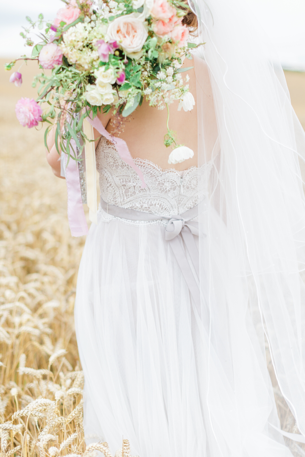Garden style pastel wedding bouquet for Laura