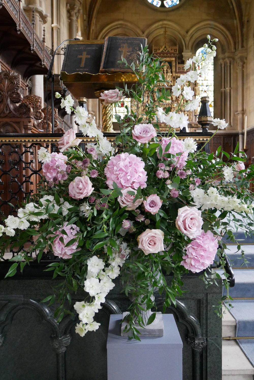 Blush church pedestal display at St Mary's church, Woburn
