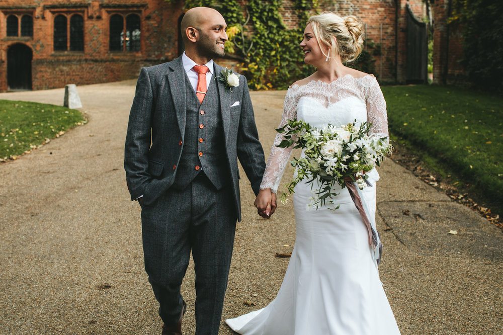 White and green flowers for Hatfield House wedding by The Flower Story