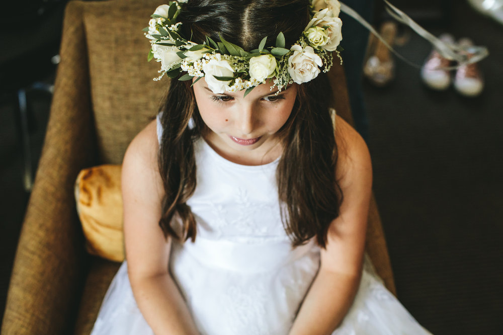 Spray rose and euphorbia flower crown by The Flower Story