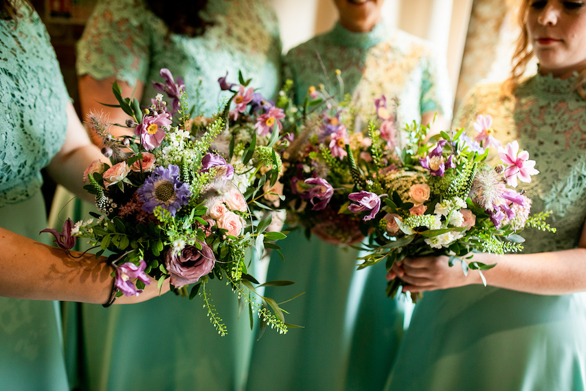 Summer bridesmaid bouquets by The Flowers Story at Dodford Manor