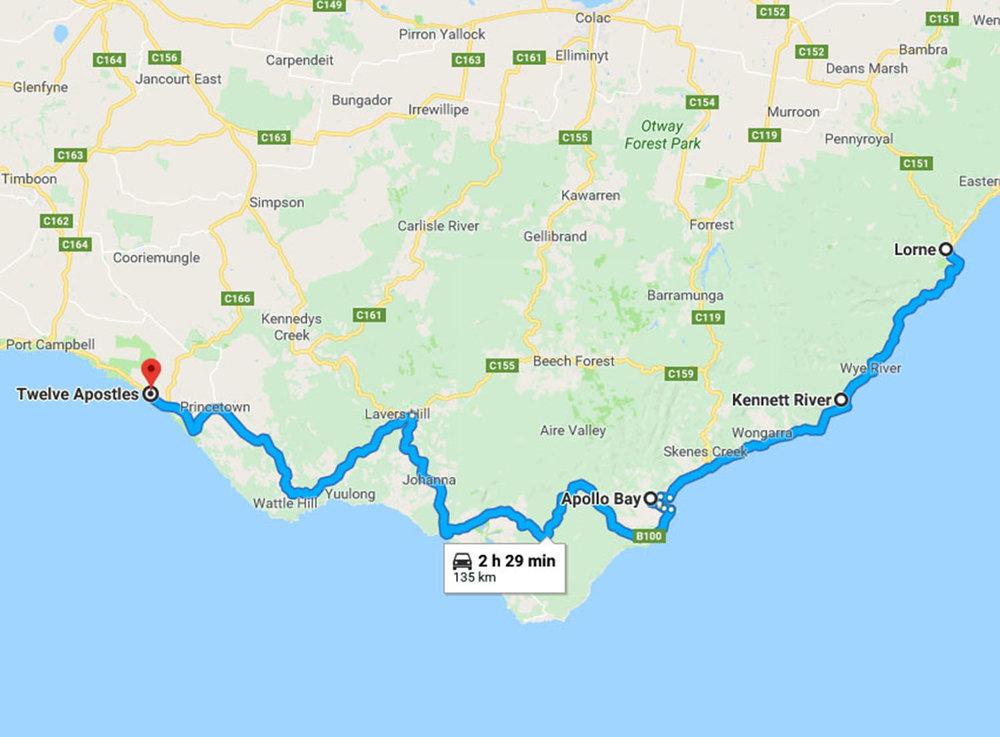 Great Ocean Road Map - Day 2
