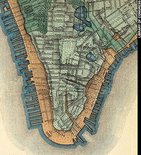 Initial outline of Manhattan in green shows the infilling of its naturally fragmented shoreline