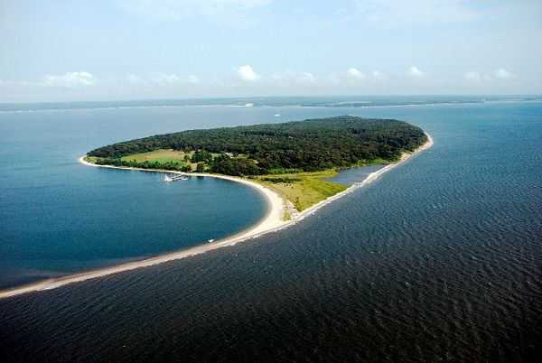 Our beloved namesake, Robins Island, as viewed from the north.