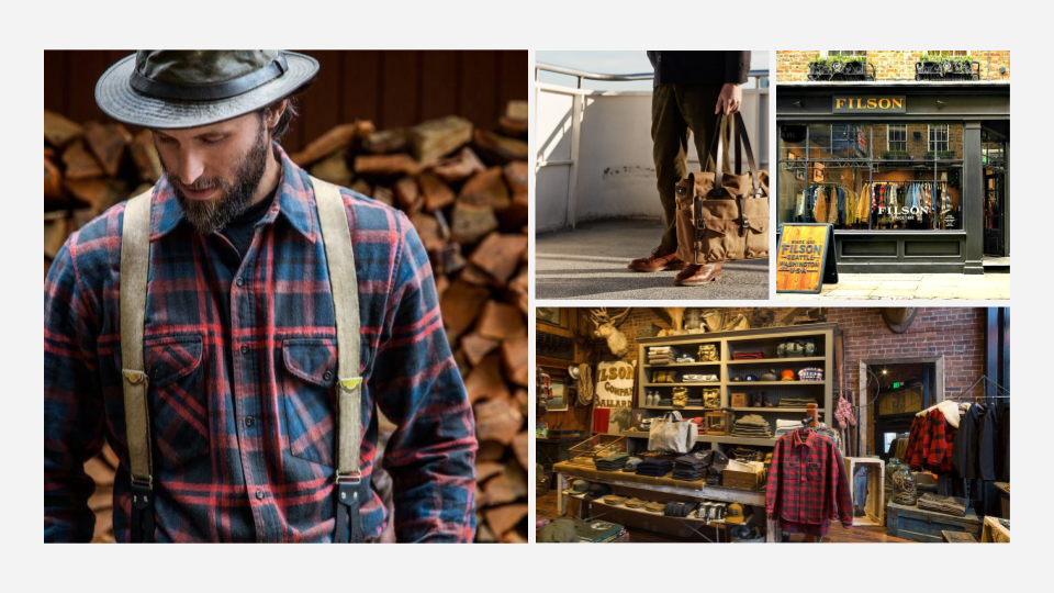 Brand Exploration - Filson's use of natural colors speaks to their product line created for outdoors activities. Their rustic look echoes back to pioneering times, yet they carry a sense of refinement with well curated product placement.