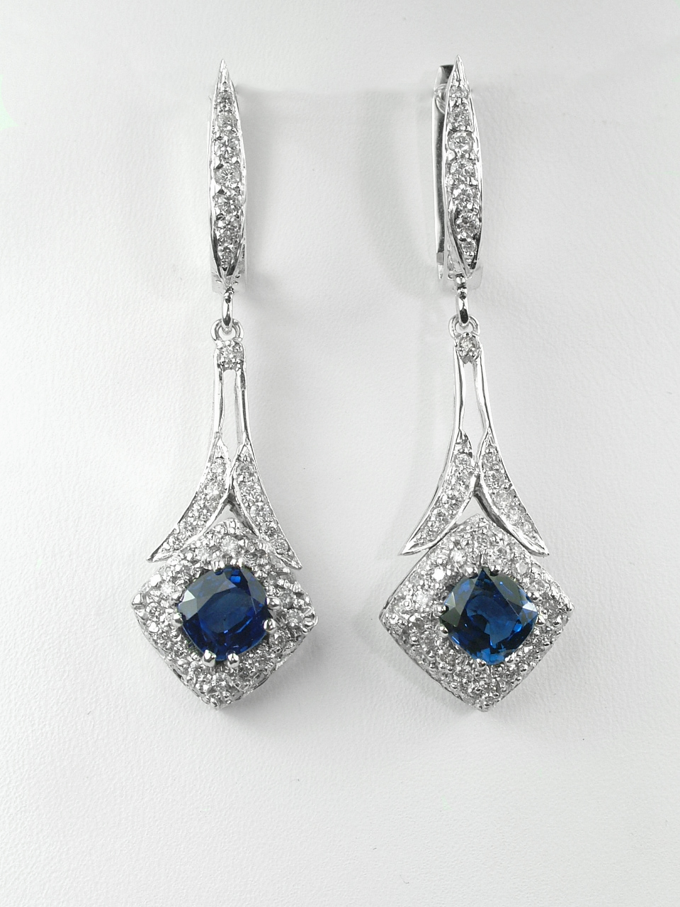 Art Deco Inspired Sapphire & Diamond Dangles
