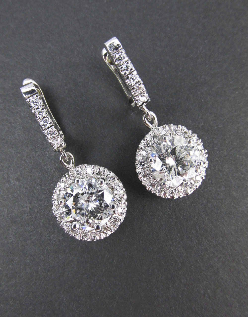 Dangle Diamond Earrings with Halos