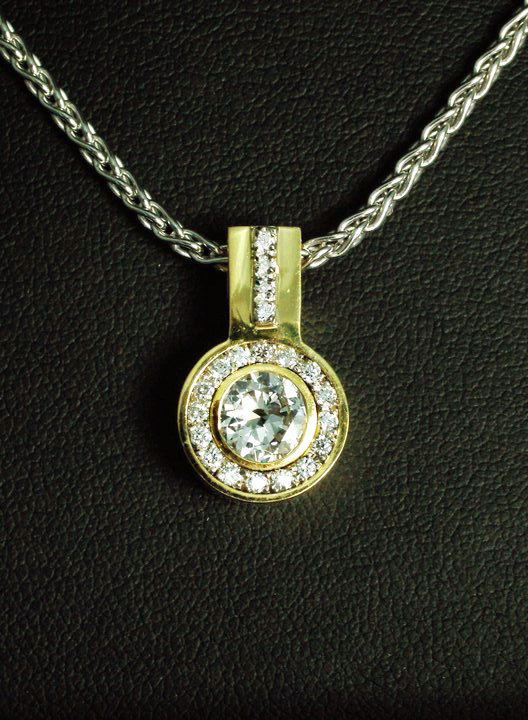 Unique Diamond Pendant with Halo