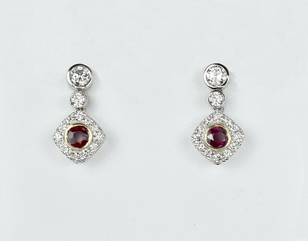 Ruby & Diamond Dangles