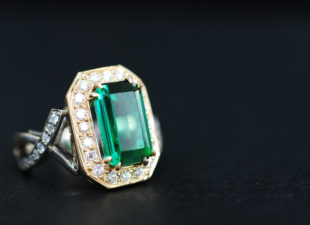 Two-Tone Green Tourmaline Ring