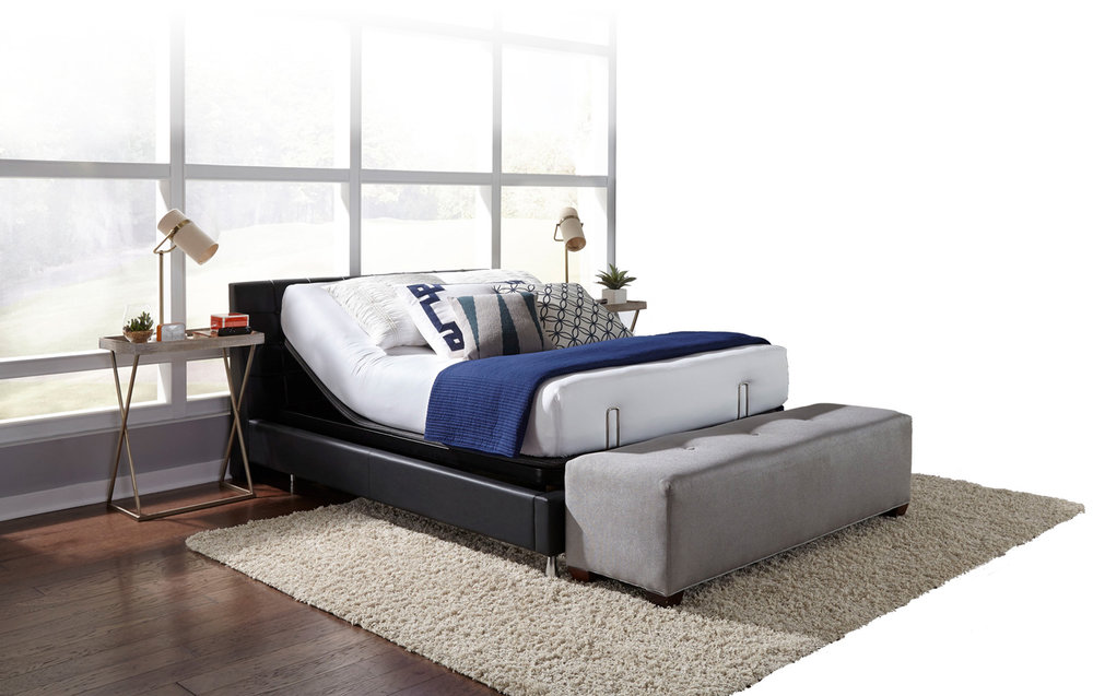 Motion Bedroom Furniture brings motion to any bed with an advanced and unique design that invisibly maintains the beauty of the bedroom set while solving the height problem. No existing adjustable bed base does both! -