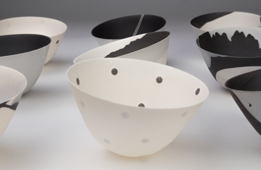 BLACK AND WHITE SERIES  SPUN PORCELAIN VESSELS  SMALL  PHOTO TAKEN IN-HOUSE