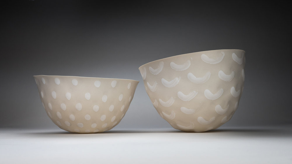 FINGERPRINT | BONE CHINA   SPUN PORCELAIN VESSELS  XLARGE & XXLARGE  PHOTO TAKEN IN-HOUSE