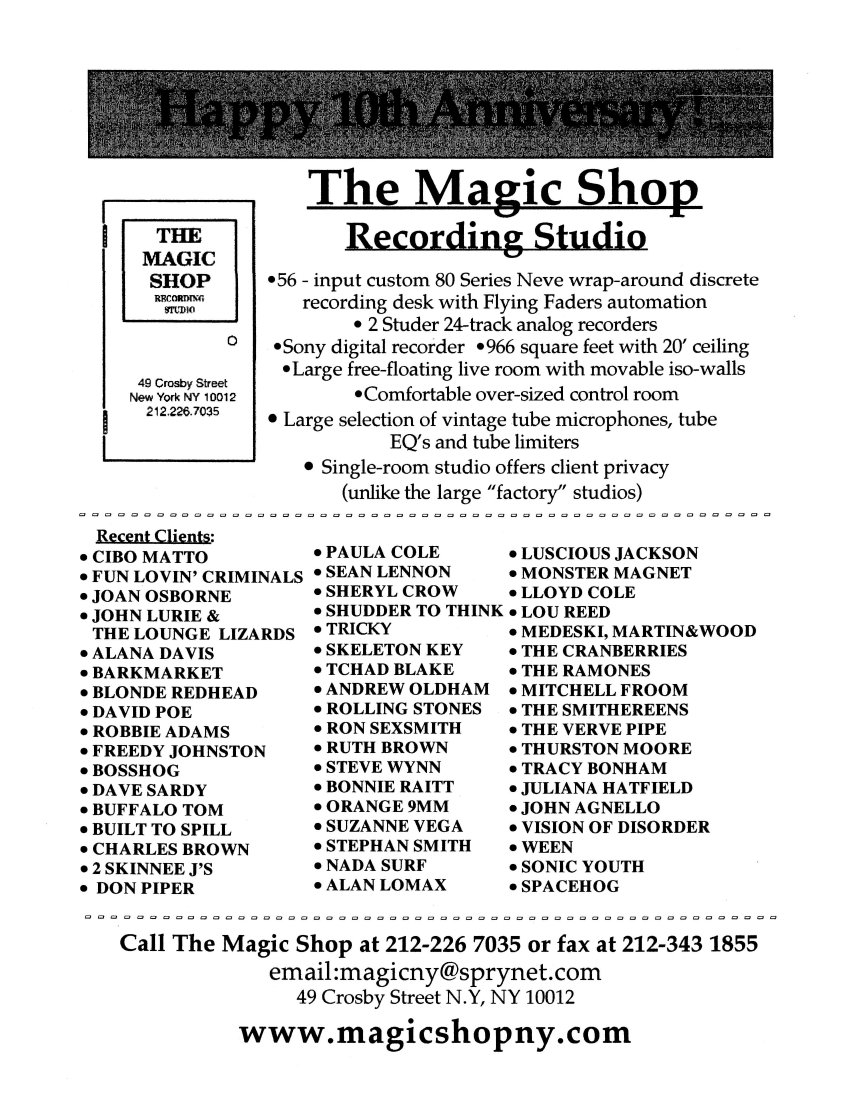 Archive: 10th Anniversary Flyer of the Magic Shop