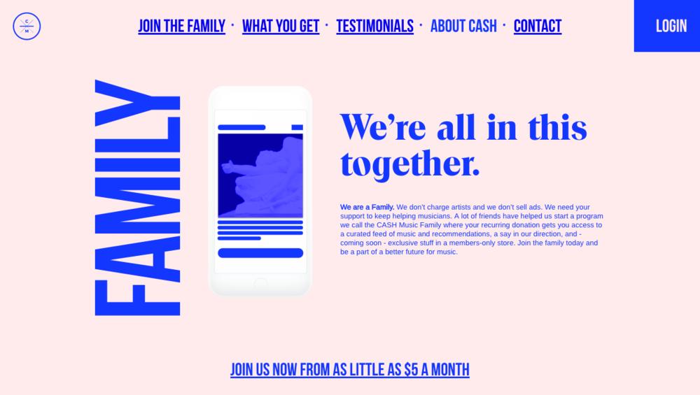 Screenshot of the CASH Music platform