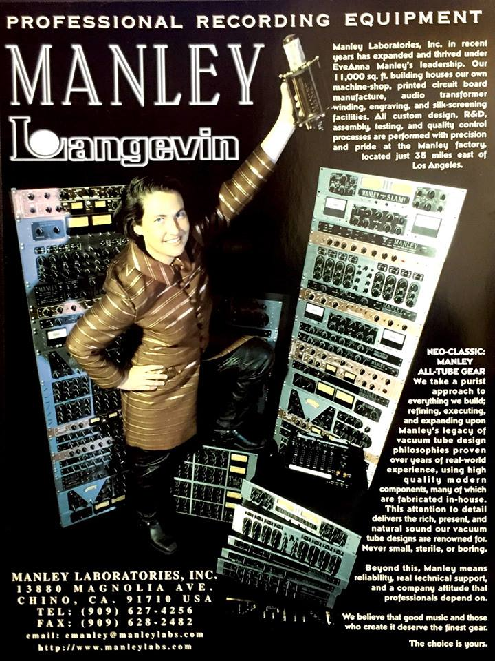 Throback ad featuring Evanna and a tower of Manley Gear