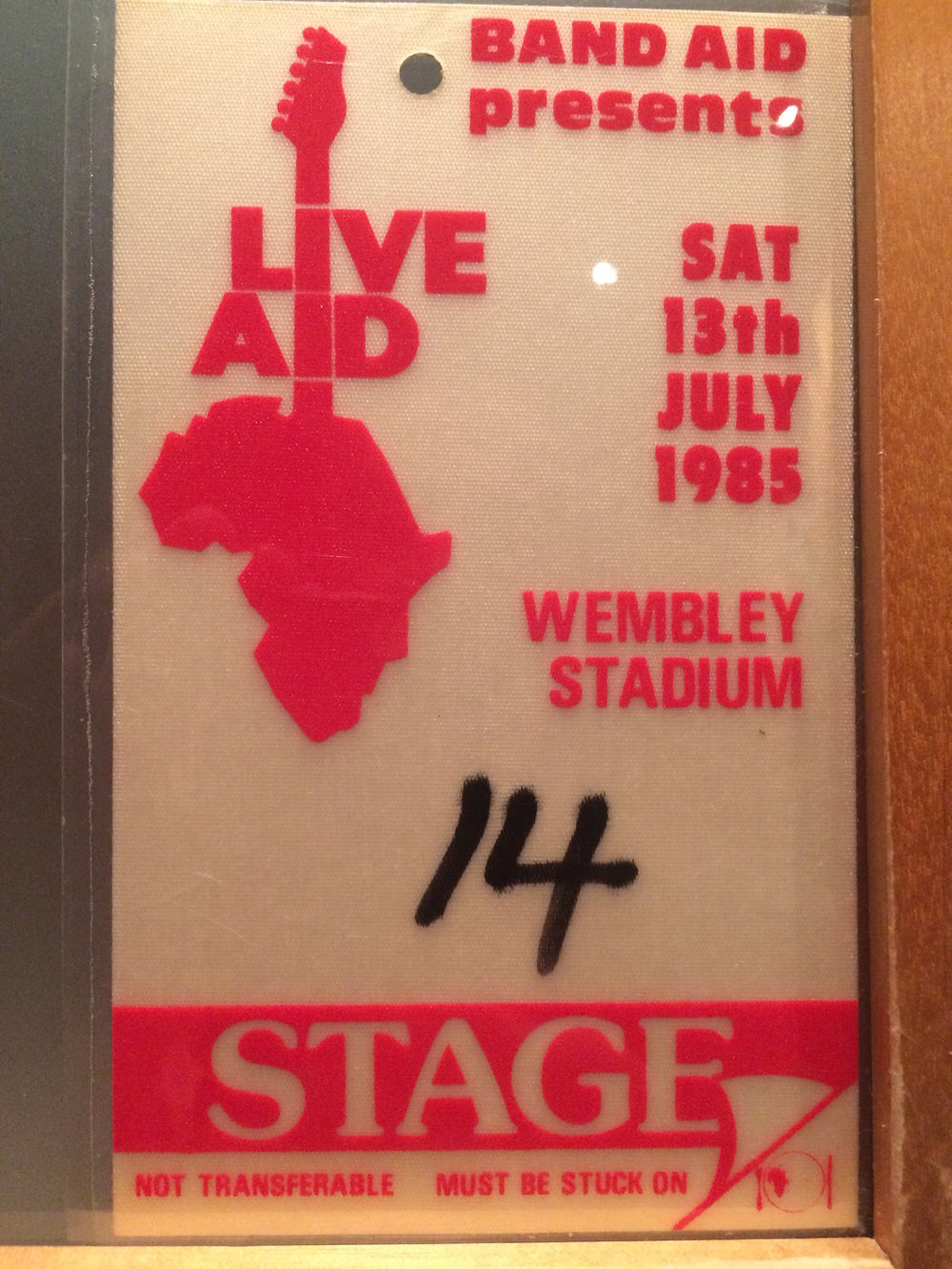 Kevin's backstage pass for Live Aid