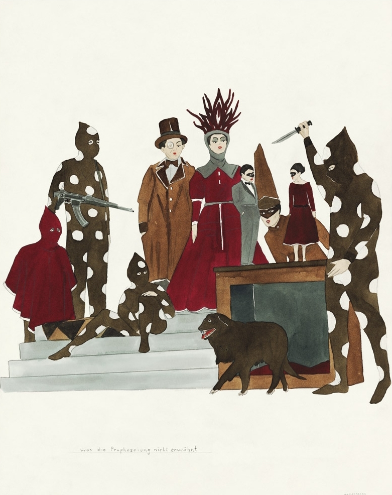 Marcel Dzama Demon, Dancers, and Drinkers: What the Prophecy Failed to Mention, 2011 Ink and gouache on paper, 14 x 11 inches