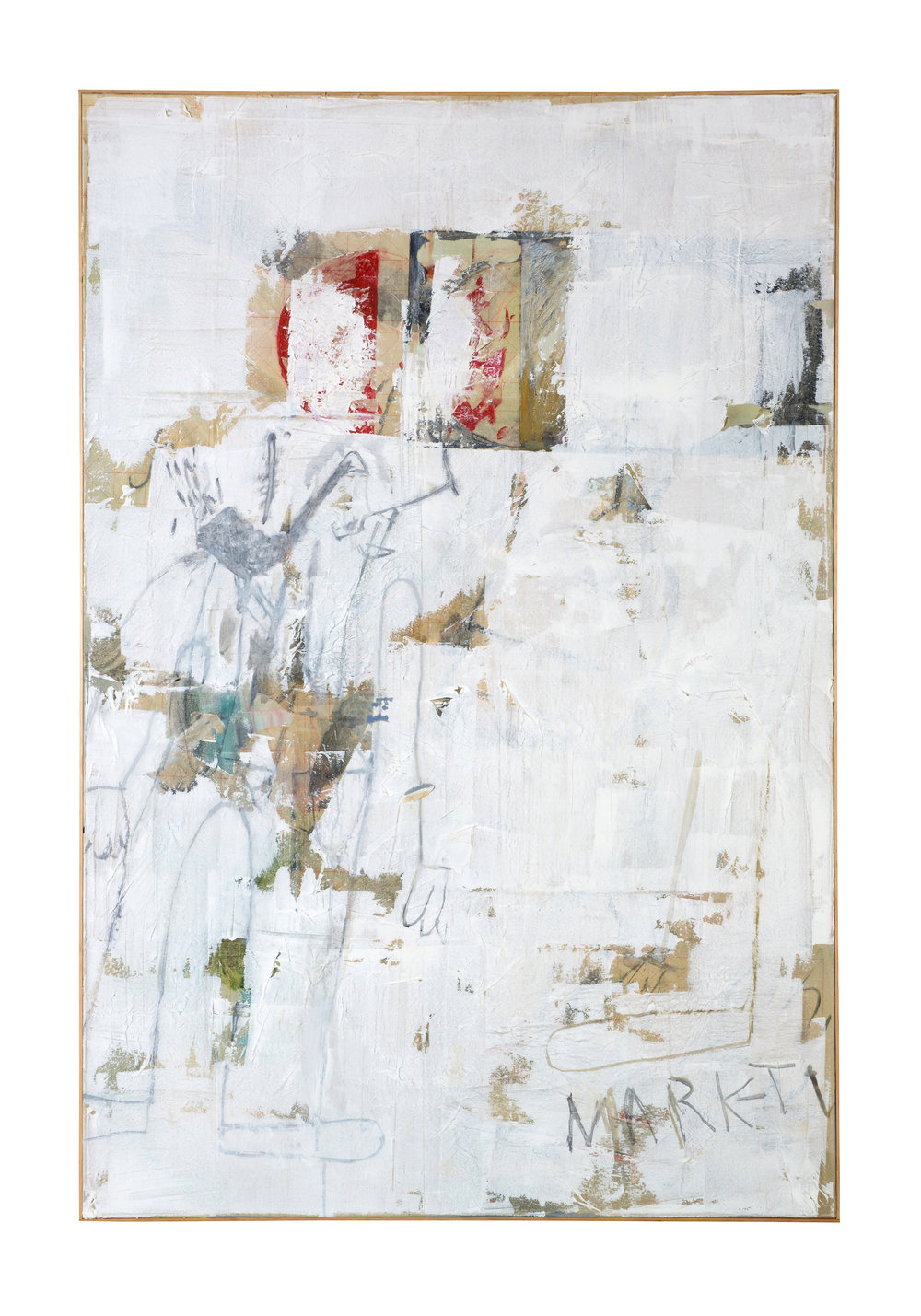 Ted Gahl   Exit Left (Twain '89)  , 2014  Acrylic, enamel, latex paint, paper on canvas, 72 x 48 inches