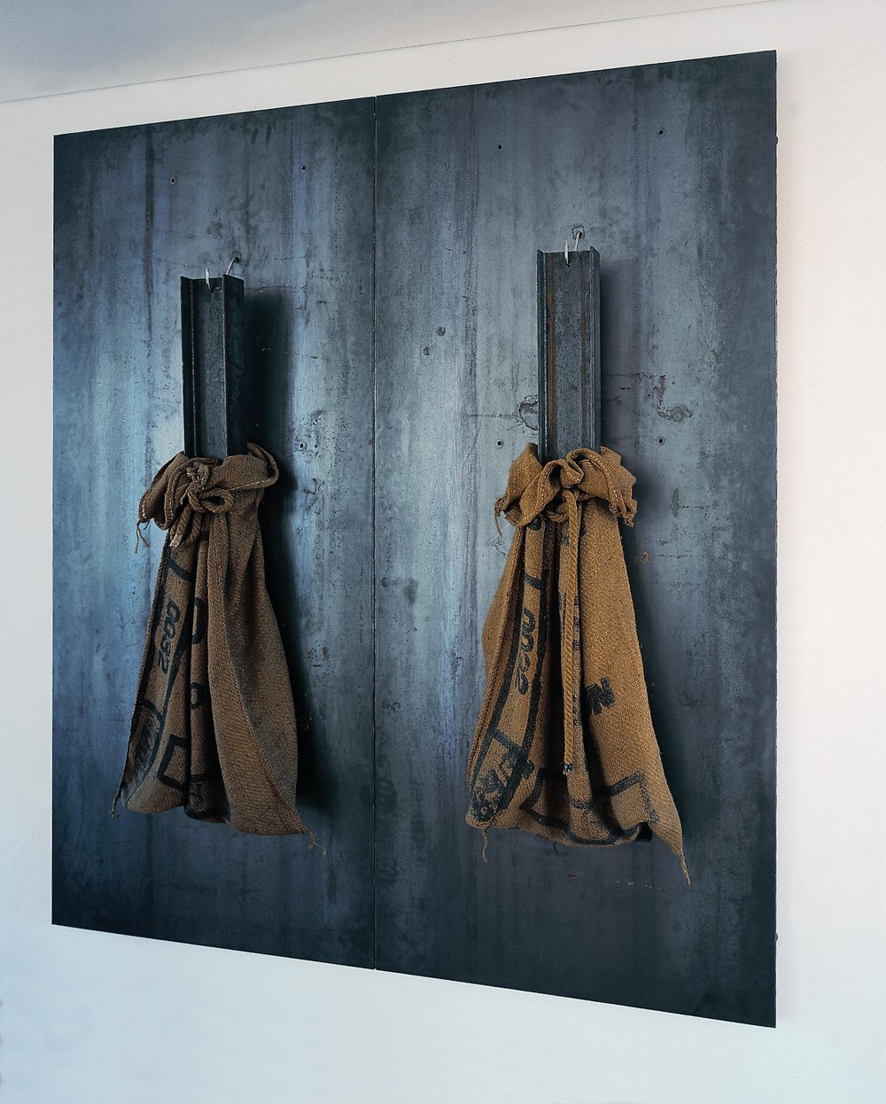 Jannis Kounellis  Untitled , Steel plates, iron beam, burlap sack and rope 78 3/4 x 71 inches SOLD