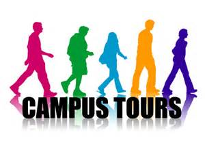 people taking a tour of campus