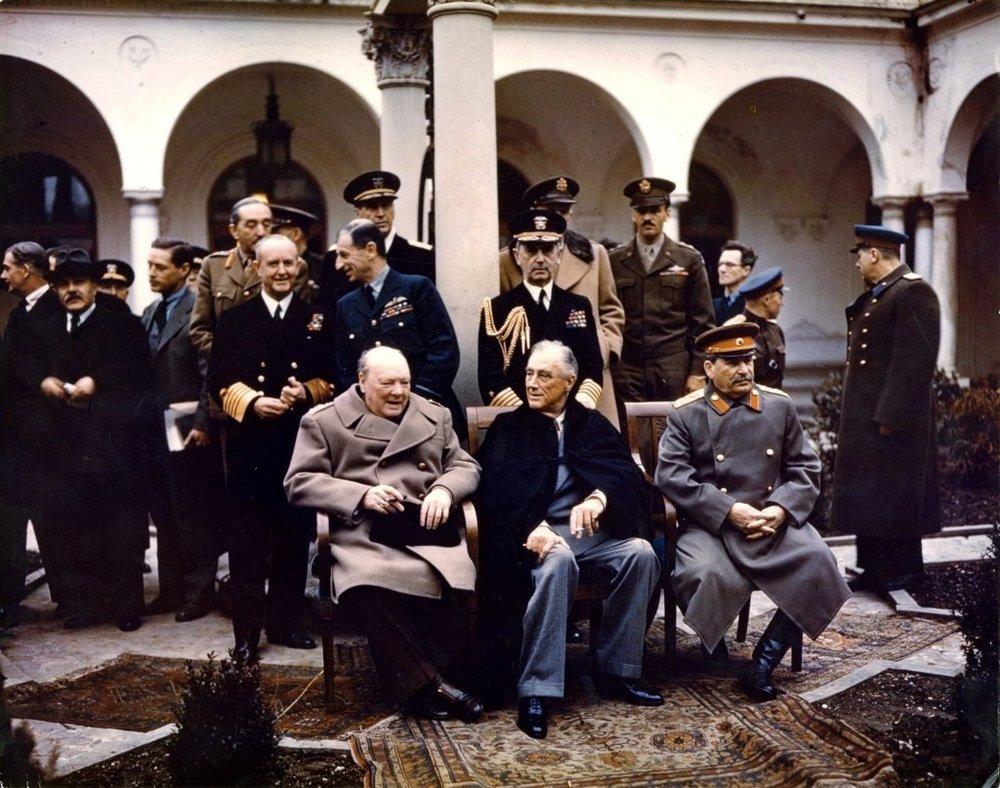 Winston Churchill, Franklin Delano Roosevelt, and Joseph Stalin in Yalta, 1945