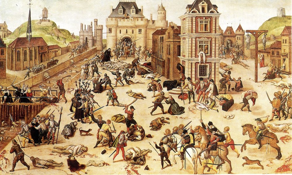 St. Bartholomew's Day Massacre, perpetrated against Huguenots in 1572