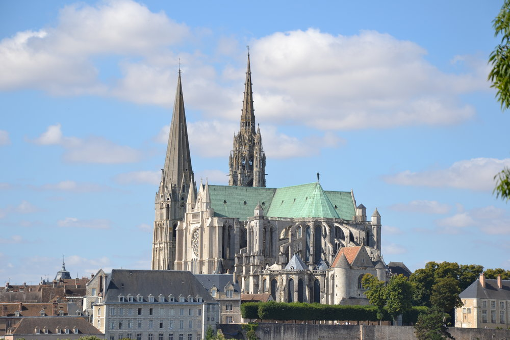 Cathedral of Notre Dame of Chartres, as a pilgrim approaching might see it from the distance