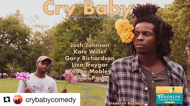 #Repost @crybabycomedy with @get_repost @bkbazaar 8:30pm! ・・・ We're at the @brooklyncomedyfestival tonight with @joshjohnsoncomedy , @kate.willett , @garyyesgary , @glittercheese , @itsbrianpark , @kenicemobley 📸 by @johnconnorhammond