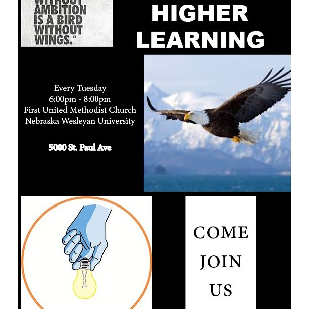 Higher Learning:  We are happy to announce that we will resume classes, tonight at 6pm at the United Methodist Church on the Nebraska Wesleyan Campus!
