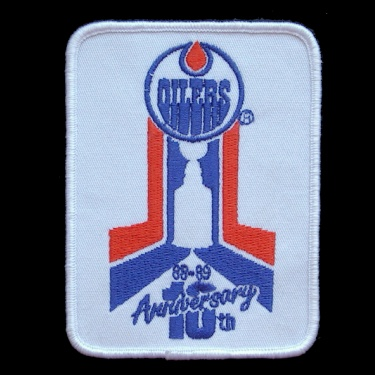 WANTED - Oilers 10th anniversary patch worn during the 1988-89 season.