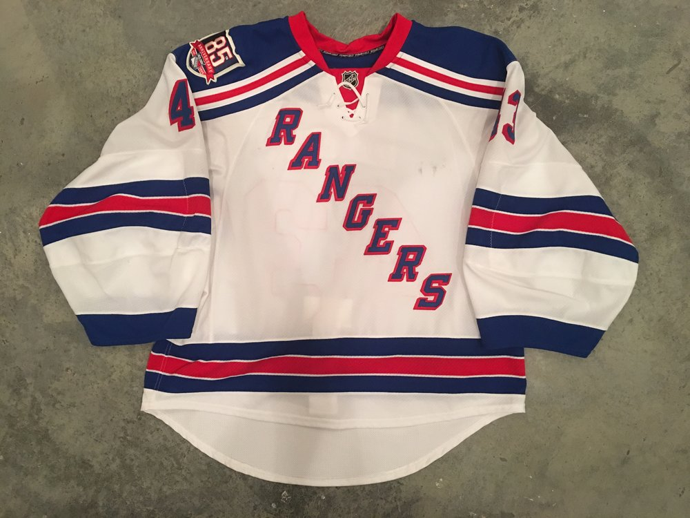 2010-11 Marty Biron game worn road jersey with the Rangers 85th anniversary patch