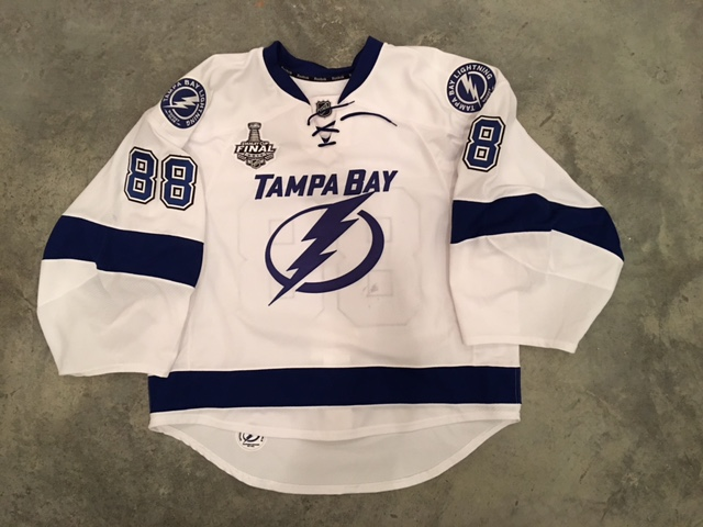 2016 Andrei Vasilevskiy game worn road jersey with the 2016 Stanley Cup Finals patch
