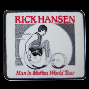 WANTED - Rick Hansen Man in Motion patch worn during the 1986-87 season