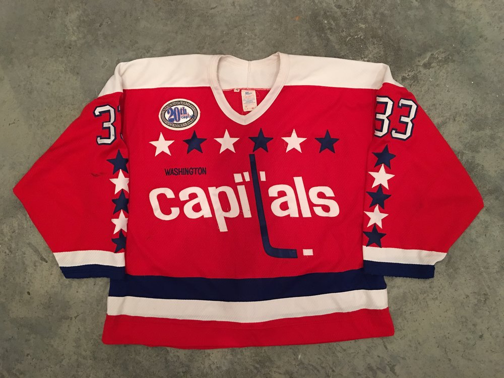 1993-94 Don Beaupre game worn road jersey with the Capitals 20th anniversary patch