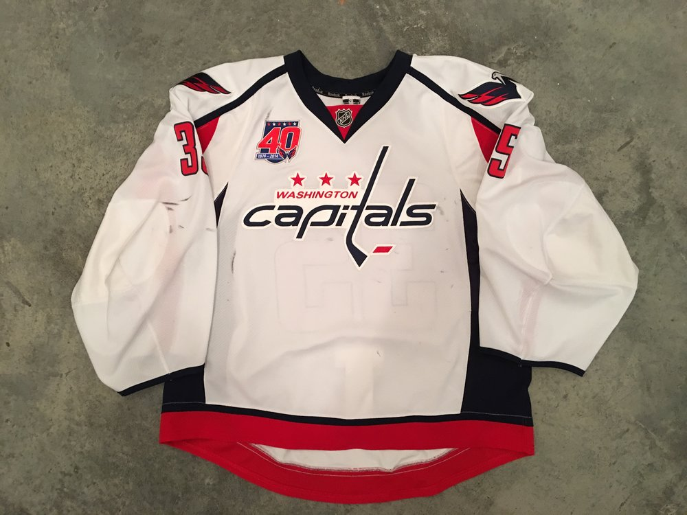 2014-15 Justin Peeters game worn road jersey with Capitals 40th anniversary patch